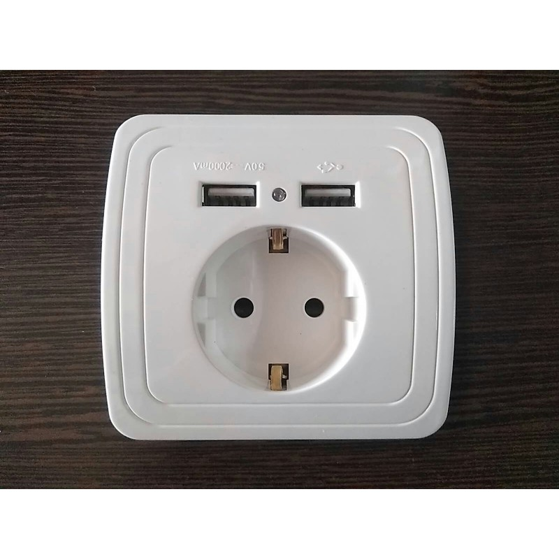 Enchufe schuko con doble toma USB blanco